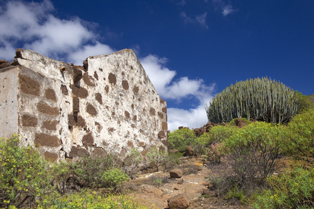 Gran Canaria, ruined traditional style house in rural area of Telde municipality