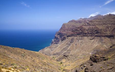 Western Gran Canaria, May, hiking route Tasartico - Playa GuiGui, ravine  Barranco de Guigui Grande, steep rocky slopes