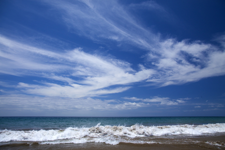 wind blown: beautiful light cirrus clouds over ocean, natural background of predominantly sky