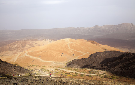 acute: Canary Islands, Tenerife, a group of walkers ascending Teide, the tallest mountain of Canary Islands and Spain, from the east slopes