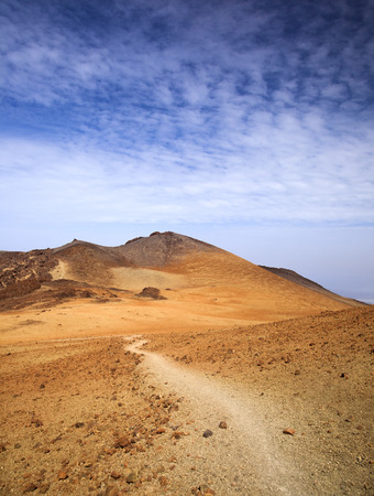 Canary Islands, Tenerife, malpais or volcanic badland around Pico Viejo, Old Peak, second highest peak of Tenerife and the Canary Islands Stock Photo