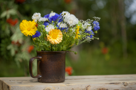 northern summery bouquet of cornflowers,  flax capsules and marigold