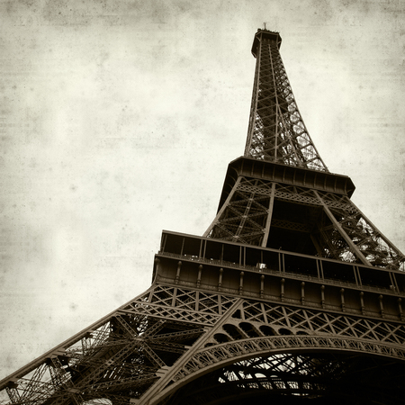 textured old paper background with the Eiffel Tower, Paris, France