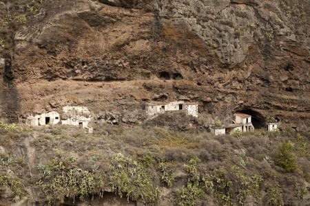 Gran Canaria, Ravine Barrando del Anden, 버려진 동굴 주택들