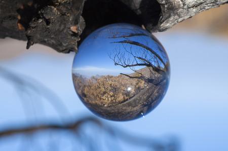 steep: crystal ball photography - Caldera de Tejeda, Gran Canaria, after wildfire September 2017