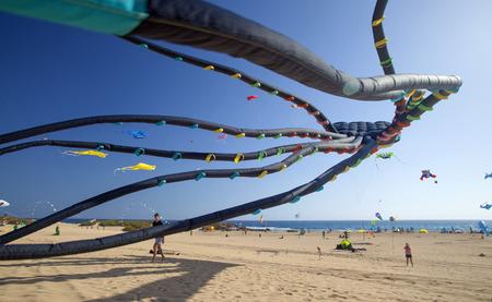 カラフルな凧として地面から視聴者の腕時計は、2017 年 11 月 11 日自然公園コラレホ砂丘、フェルテベントゥラ島、スペインで 30 の国際凧祭りで空を