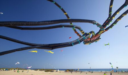 FUERTEVENTURA, SPAIN - NOVEMBER 11: Viewers watch from the ground as colorful kites fill the sky at 30th International Kite Festival, November 11, 2017 in Nature park Dunes of Corralejo, Fuerteventura, Spain Editorial