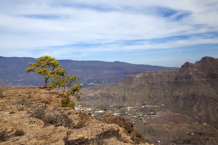 Inland Gran Canaria, sunny day in December, view over Barranco de Fataga