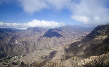 Gran Canaria, November, view downwards into Valley Barranco de Mogan Stock Photo
