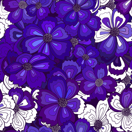 seamless line drawn flower background, partially filled with blue-lilac, partially left blank, adding of elements and giftwrapping