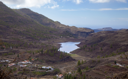 Gran Canaria, January 2018, one of the largest freshwater reservoirs Chira has very low water level