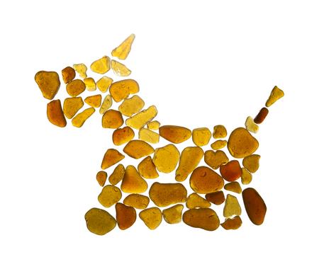 sea glass dog pictogram, scottish terrier, or scottie