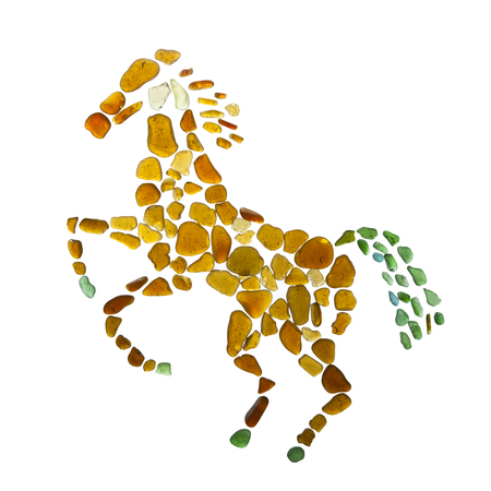 sea glass rearing horse figure on white background