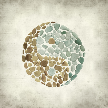 textured old paper background with yin yang signmade of sea glass Stock fotó