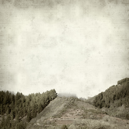 textured old paper background with pine-covered mountains in the fog  Фото со стока