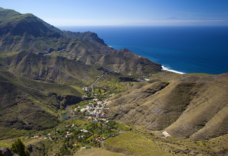 Gran Canaria, March - view from edge of nature reserve Tamadaba down towards El Risco Stock Photo