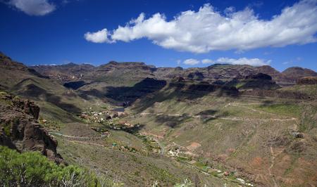 Gran Canaria, April, view over valley Ayagaures, reservoiurs Ayagaures and Gambuesa both full