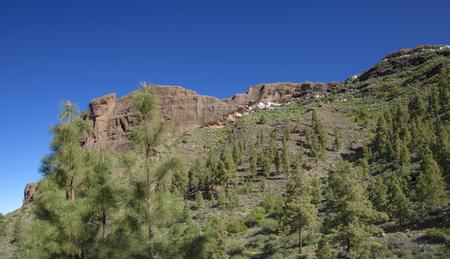Gran Canaria, March - view across steep valley towards cave houses of Juncal de Tejeda