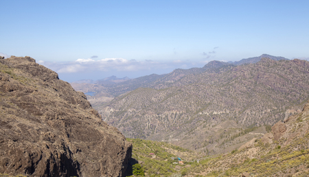 Gran Canaria, May, hiking route Candelilla - El Marrubio, look down along  the valley Barranco de la Soria Stock fotó