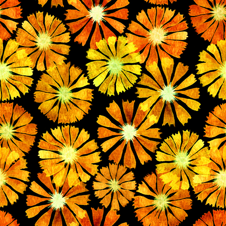 repeatble seamless yellow field marigold pattern on black