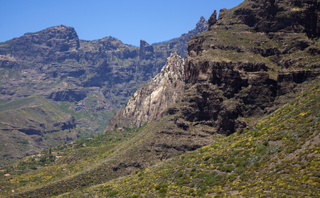 Gran Canaria, June, views along hiking path between ravine Barranco de Guayadeque and Caldera de Tirajana, white cliff Risco Blanco in the distance