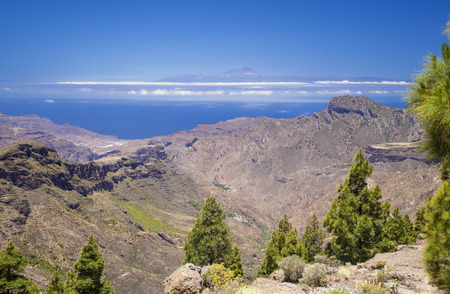 Gran Canaria, view from Las Cumbres, the highest areas of the island, towards Teide on Tenerife Stock Photo