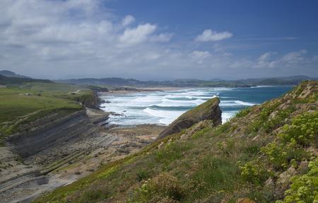 Cantabria, Costa Quebrada landscapes around Playa El Madero beach, dunes of Liencres in far distance
