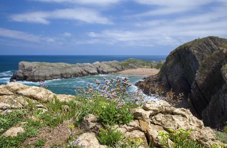 Cantabria, Costa Quebrada, view towards beach Playa de Somocuevas Фото со стока