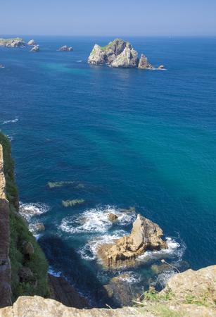 Cantabria, coastal landscape along Costa Quebrada, The Broken Coast, group of small islets called Urros de Liencres