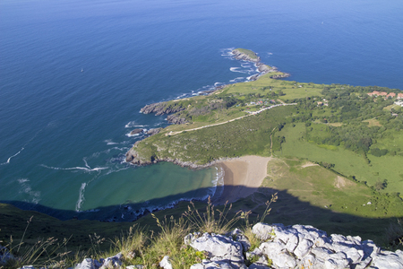 Cantabria, Liendo municipality, view from rock formation called Ojo de to the coast