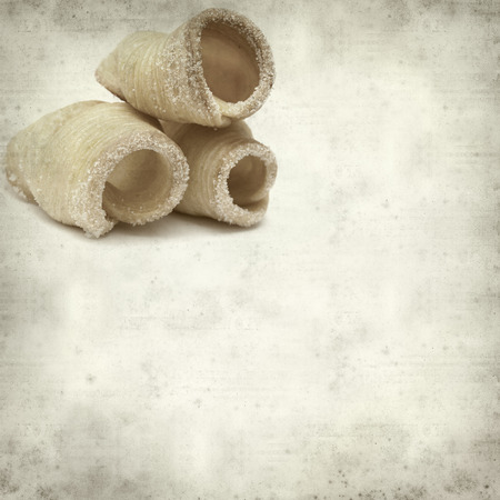 textured old paper background with winter puff pastries of Reinosa, Cantabria, Spain Фото со стока