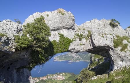 Cantabria, Liendo municipality,rock formation called Ojo del Diablo - Devils eye, overlooking the coast