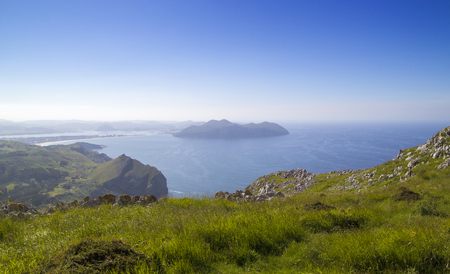 Cantabria, Liendo municipality, view towards town of Santona across the bay