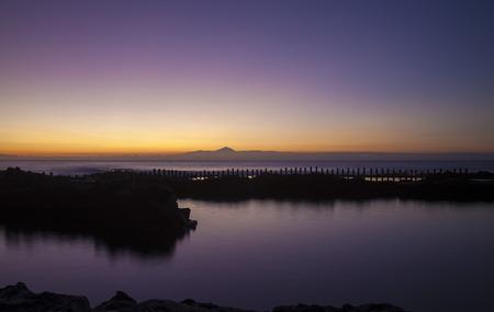 Sunset over natural swimming pools Salinas de Agaete in Puerto de Las Nieves, Agaete, Gran Canaria