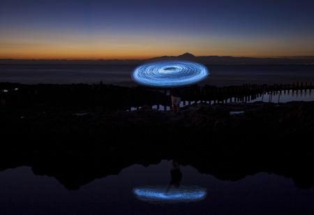 light painting at natural swimming pools at Puerto de las Nieves