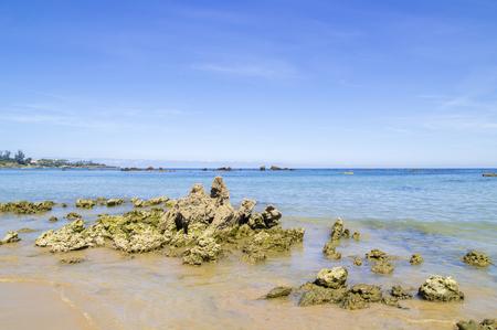 Coastal landscape of Cantabria, Playa de Arena beach close to Noja, Karst rock formations Stock fotó