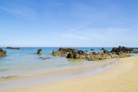 Coastal landscape of Cantabria, Playa de Arena beach close to Noja, Karst rock formations