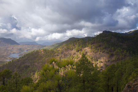 Gran Canaria, October, nature park Pajonales, freshwater reservoir Presa de las Ninas visible