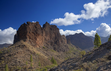 Gran Canaria,  October, rock formation Risco Chimirique 版權商用圖片