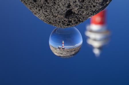 crystal ball photography - Fuerteventura, Canary Islands, lighthouse Faro de Toston close to El Cotillo village Banque d'images