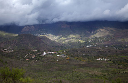 Gran Canaria, November, beautiful view towards center of the island, the highest areas covered by heavy clouds Stock Photo