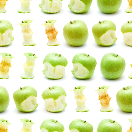 green apple eating progression seamless repeatable pattern isolated on white