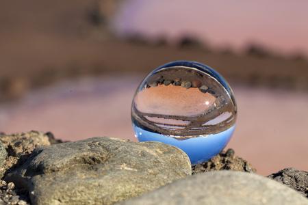 Gran Canaria, salt evaporation ponds Salinas de Arinaga, crystal ball photography