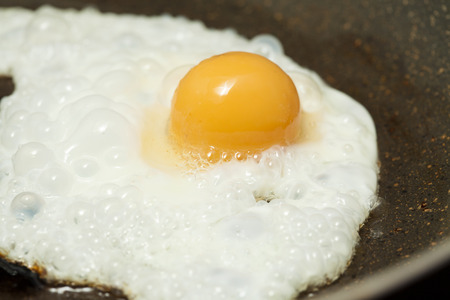 frying a frozen egg - yolk stays spherical due to gelation