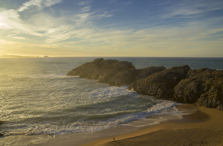 Coast of Cantabria,  landscape along Costa Quebrada, The Broken Coast, December, low  late afternoon light 写真素材