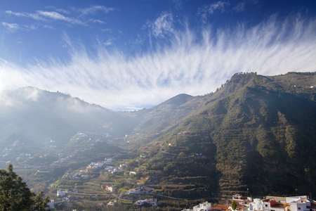 Gran Canaria, January, view across valley Barranco de Las Lagunetas, low afternoon light