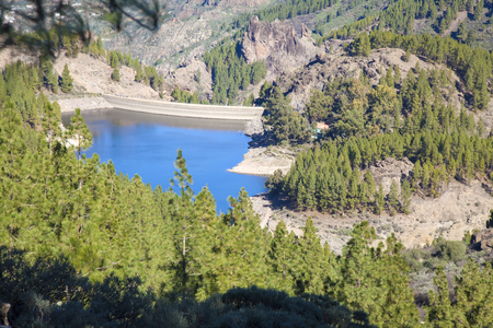 Gran Canaria, December,  Presa de Los Hornos reservoir from above Stock Photo