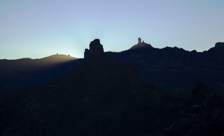 Gran Canaria, December, Las Cumbres, the highest, amazing winter solstice sunrise over rock formation Roque Bentayga as seen from Acusa Seca