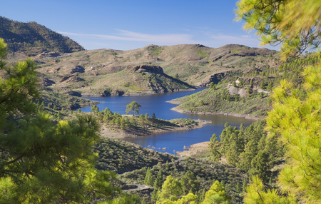 Gran Canaria, December,view from a hiking path in Inagua strict nature reserve towards freshwater reservoir Presa de Las Ninas