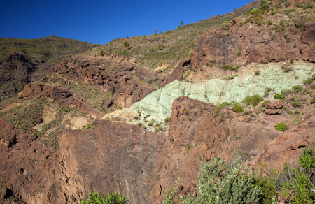 Gran Canaria, December, amazing multicolored strata Azulejos at the edges of nature reserve Inagua Stock Photo